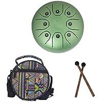 Essort Hang Drum Stahl Tongue Drum 5,5 Zoll Mini-Trommel mit Schlagzeug Schlägel Taschen 8 Noten - Grün