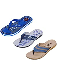 Indistar Men Flip Flop House Slipper And Sandal-Grey/Black/Beige/Blue- Pack Of 3 Pairs