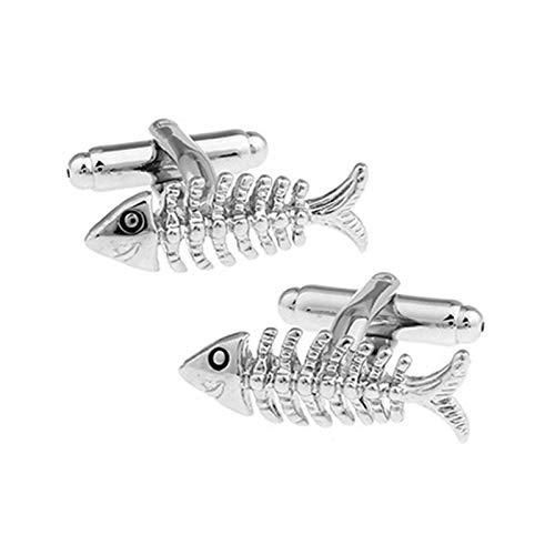 AmDxD Herren Manschettenknöpfe aus Edelstahl Fischgrätes Form Manschette Links für Bräutigam Männer - Silber -
