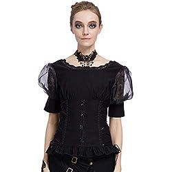 Top Blouse Gothique Femme Haut Victorien Femme Costume Médiévale Rétro Vintage Renaissance Manches Courtes 1/2 Manches V-Back Corset-Style Slim Fit Taille M Noir
