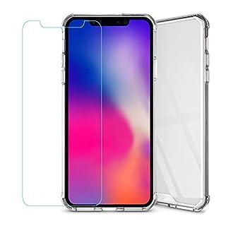 Amasell Schutzhülle für iPhone XS, Kratzfest, ultradünn, durchsichtig, Acryl-Rückseite, stoßfest, bunt, weiche TPU, Hybrid-Schutzhülle mit gehärtetem Glas für iPhone XS Max, farblos