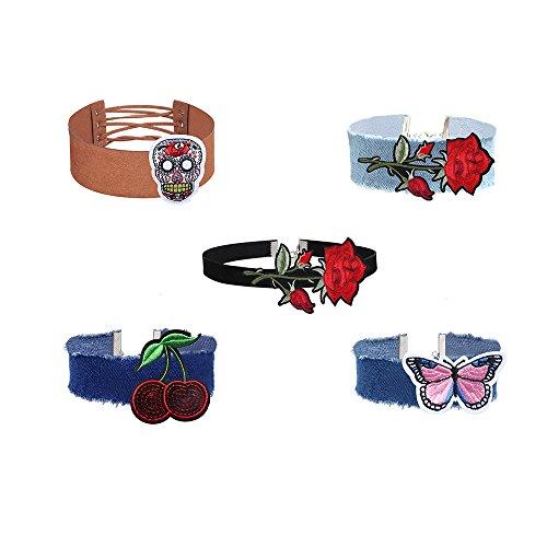 MingJun 5PCS Weinlese-Samt-breite Denim-Jean-handgemachte gestickte Choker-elegante Art- und Weisejustierbare Halskette für Frauen-Mädchen-Teens 90s (Gestickte Nieten-jeans)