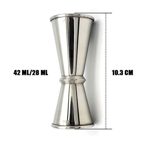 Mesure de jigger en acier inoxydable Jigger Spirit Barre de mesure, mesure de tir, mesure de cocktail28 / 14ml 42 / 28ml 56 / 28ml FENGMING (Couleur : Silver, taille : 42/28ml)