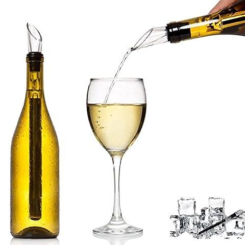 Babz de design italien, conçu à vin-Rafraîchisseur de bouteille-adhésif en inox en forme de tige avec bec verseur anti-goutte Chille bec verseur