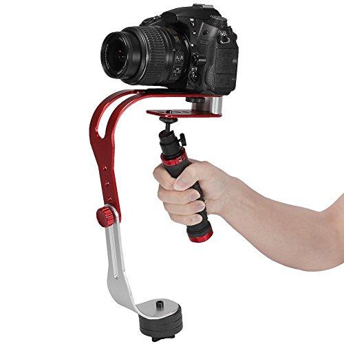Video- und Foto-Stabilisator-Griff, für Canon, Nikon, Sony, Kamera DV DSLR,Gummi-Griff, rot und schwarz -