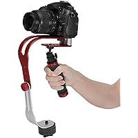 Pro portátil Steadycam Vídeo Estabilizador Handle Grip Steady soporte para Canon Nikon Sony cámara Cam videocámara DV DSLR–Mango de goma), color rojo y negro