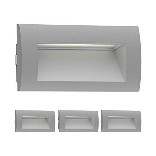 ledscom.de LED luminaire encastrable dans Le Mur Zibal pour l'extérieur, Gris, Blanche-Chaude, 140x70mm, 4 pcs
