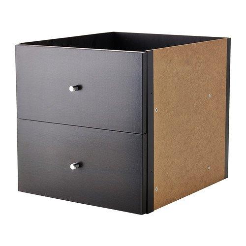 IKEA KALLAX Einsatz mit 2 Schubladen in schwarzbraun; (33x33cm); Kompatibel mit EXPEDIT