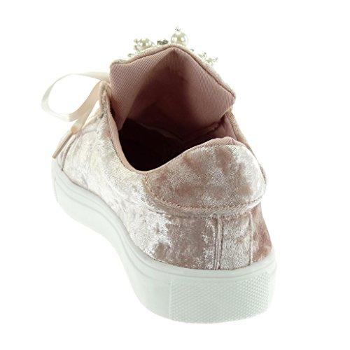 Angkorly - Sneaker Scarpe Da Donna - Tennis - Stringhe Di Raso - Perla - Tacco Piatto Gioiello 2,5 Cm Rosa