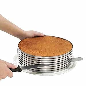 Anello taglia torta affetta torte in 8 strati regolabile da 24 a 30 cm tagliatorte cake design B9