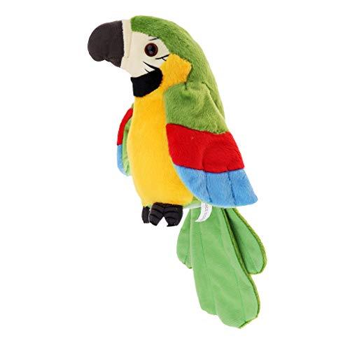 perfeclan Sprechender Plüschvogel Papagei Vogel Plüschtiere Kuscheltiere Spielzeug - Grün