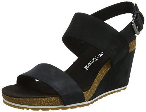 Timberland Capri Sunset Wedge, Sandali Donna, Nero (Jet Black Naturebuck 015), 39 EU
