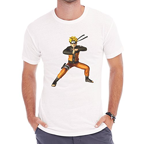 Naruto Smiling And Crossing Fingers Herren T-Shirt Weiß