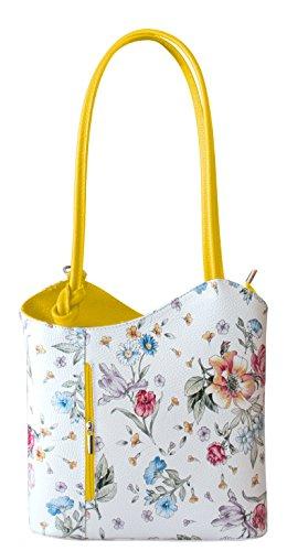 Rucksack Handtaschen 2 in 1 Damentaschen Ledertasche Lederrucksack Designer Luxus Henkeltasche mit Blumenmuster Tasche aus Echt Leder (Gelb)