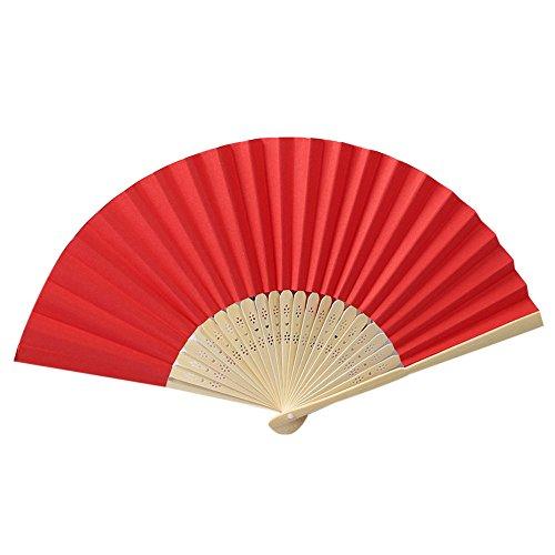 olding Fächer Kunststoff Solid Plain Kostüm Handfächerheld Bamboo Openwork Oriental Party Hochzeit Dekorationen(Rot,21cm) ()