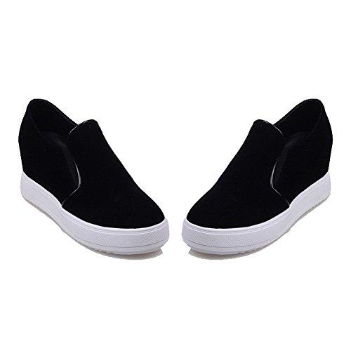 VogueZone009 Femme Couleur Unie Dépolissement à Talon Haut Tire Rond Chaussures Légeres Noir