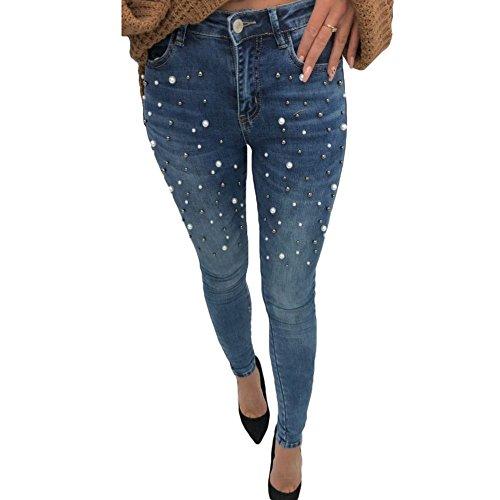 Skinny Jeans für Damen Frau - Mode Perlen Slim Stretch Push Up Hüfte Bleistift Hose Mittlere Taille Denim Röhrenjeans Jeanshose Schwarz/Blau 26-30