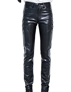 Idopy Herren Slim Fit Soft PU Faux Leder Biker Hose Trachtenlederhose Trachtenlederhose Lederhosen