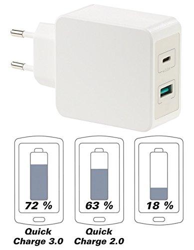 revolt Schnellladegeräte: Reise-USB-C-Netzteil mit Quick Charge 3.0, USB Typ C & A, 6 A / 33 W (Quickcharge-Ladegerät) (Macbook Pro-euro-adapter)