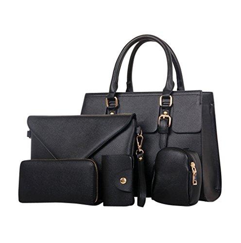 YipGrace Donne Spalla Messenger Bag Portafoglio Cinque Pz Sets Nero