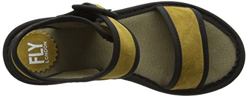 FLY London Kish603fly, Sandales Compensées femme Jaune - Yellow (Mustard/Black)