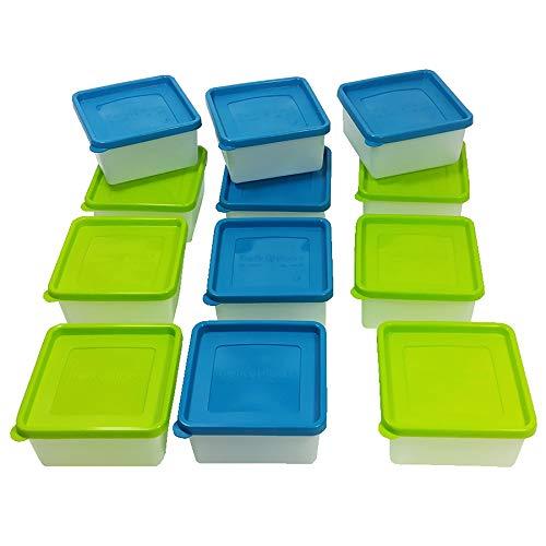 12 Stück Tiefkühldosen 0,5 L inkl. Gefrieretiketten Gefrierdosen zum Einfrieren - Frischhaltedosen stapelbar - Vorratsdosen zum Einfrieren und Auftauen - Mikrowellendosen