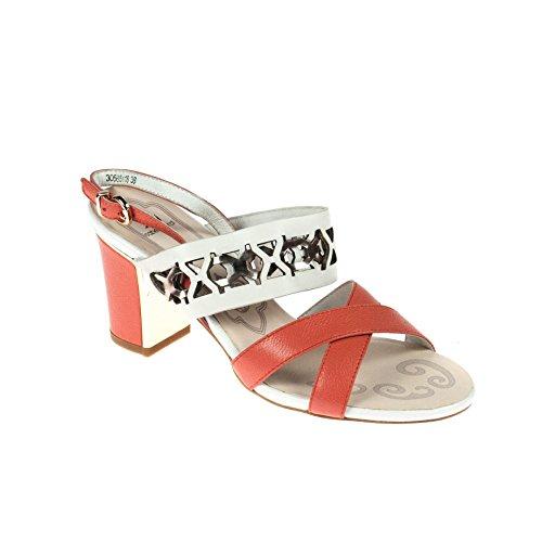 Isabel Licardi Damen Sandale Pumps Leder Lachsfarben Beige, Schuhgröße:38