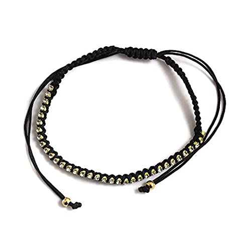 Black Cord and Captive Crystal Ladies Ankle Bracelet Anklet perfect for Beach Summer Festival Season