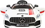 Toy House Futuristic Benzy Plastic AMG Rechargeable Battery Operated Ride-on Car for Kids (White , 2-5 Years)