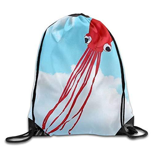 uykjuykj Tunnelzug Rucksäcke, Custom Red Octopus Unisex Gym Drawstring Shoulder Bag Backpack String Bags Lightweight Unique 17x14 IN -