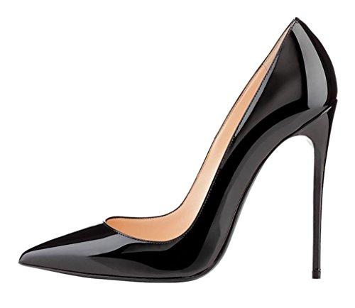 EDEFS Scarpe con Tacco Donna,Classico Scarpe con Tacco e Punta Chiusa Donna Nero
