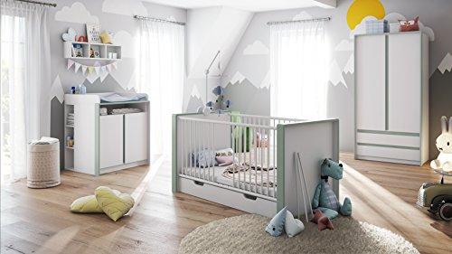 Babyzimmer Kinderzimmer Komplett Set Nandini Set 1 in Weiß matt mit Blenden in Jade