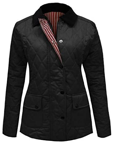 Amber Apparel Ladies Quilted Padded Button Zip Jacket Coat Top Black 16