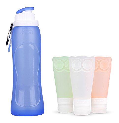 Silikon Reise Flasche, Faltbare Wasserflasche& Silikon Wasser Flasche Set, Foxcesd Travel Kit Tube Squeeze Flasche Shampoo Duschgel Lotion Glas und 500 ml Faltbare Wasserflasche für Reise Camping (Squeeze-wasser-flaschen)