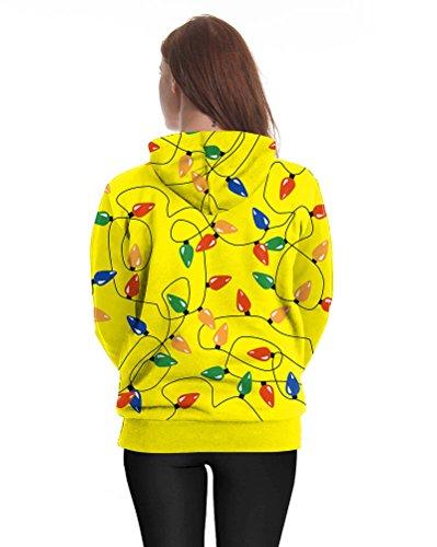 Donna 3D Stampa Maniche Lunghe Sweatshirt Felpa Con Cappuccio E Tasca Del Canguro Come Immagine