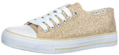 Brandsseller Damen Sneaker Glitzer-Look Freizeitschuh Schnürer Farbe: Gold - Größe: 39