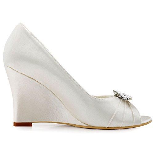 ElegantPark WP1547 Escarpins Femme Talon Compense Satin Bijou Mobile Diamant Fleur AF01 Chaussures de Soiree Ivoire