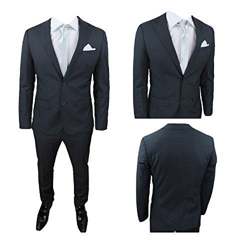 Abito uomo nero blu grigio scuro vestito elegante cerimonia drop 6 giacca 2 bottoni + pantalone w450-2 (48, grigio)