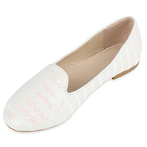 Damen Slipper Pop Art Loafers Flats Schuhe Prints Lederoptik Weiss Glitzerstreifen