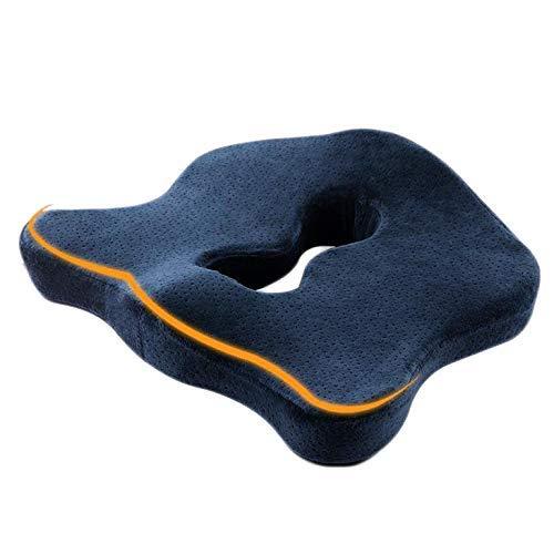 KOSHSH Comfort Terapia Ortopedica Coccyx Cuscino Seduta Memory Foam Cuscino ergonomico Pad per Lower Back, Tailbone e scialo Relief per Office Home Car Wheelchair,Blue