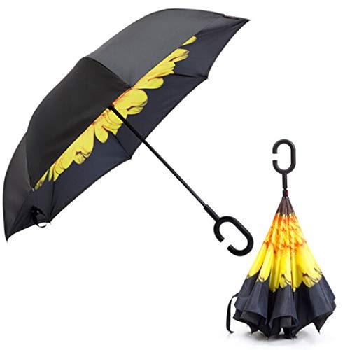 qingqingR C-förmiger Griff-Doppelschicht-Regenschirm Anti-UV-Faltung umgedreht umgekehrt Winddicht Sunflower für die Reise -
