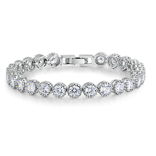 Epinki Damen Armband, Silber Vergoldet Tennisarmband mit Weiß Rund Cubic Zirkonia Charm Damenarmband Armbänder 5MM&19CM