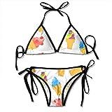 Colored Ice Cream Sexy Women Beach Swimwear Two Pieces Bathing Suit Bikini Top