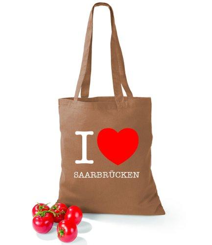 Artdiktat Baumwolltasche I love Saarbrücken Caramel