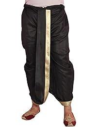 Larwa Men's Polyester Dupion Lace Embroidered Dhoti (DBlack2, Black, Free Size)