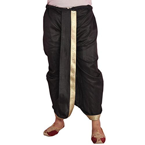 Larwa Black Dupion Lace Embroidered Dhoti for Men
