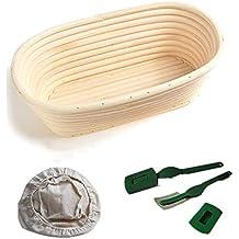 WESEEDOO Cesta de Prueba Banneton Canasta De Pan Oval Pan Profesional Probar Tazón con Liner Brotform