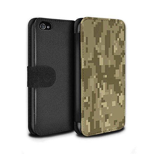 Stuff4® PU-Leder Hülle/Case/Tasche/Cover für Apple iPhone 4/4S / Brauner Cadpat Digital Muster/Militär Camouflage Tarnung Kollektion