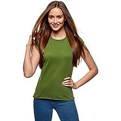oodji Ultra Mujer Camiseta Básica de Algodón, Verde, ES 42/L