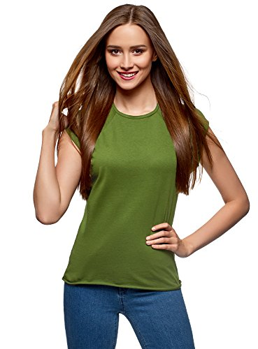oodji Ultra Mujer Camiseta Básica de Algodón, Verde, ES 38/S